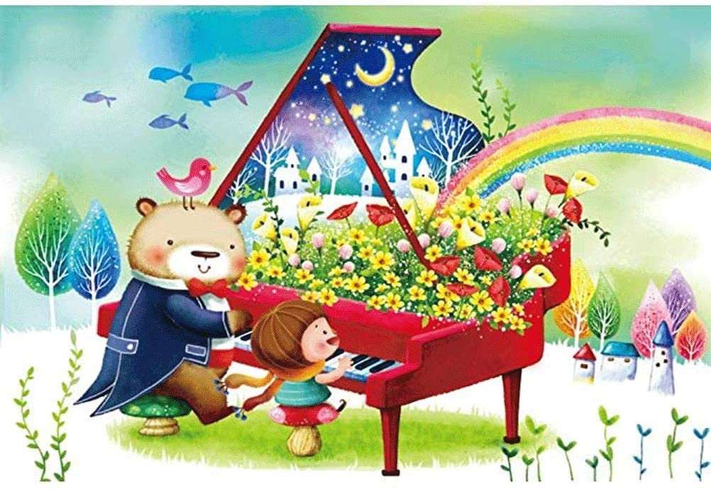 Puzzle House ⏰PT Fairy Tale Bear,Decorative Lovely Hanging Picture Painting Perfect Cut & Fit 300~1000pc Boxed Toys Game for Adults & Kids Wooden Jigsaw Puzzle Illustration