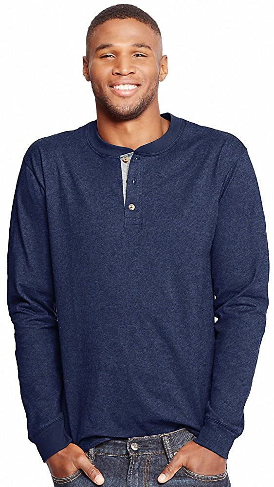 Hanes by Mens Long-Sleeve BEEFY Henley Shirt_Navy Heather_3XL