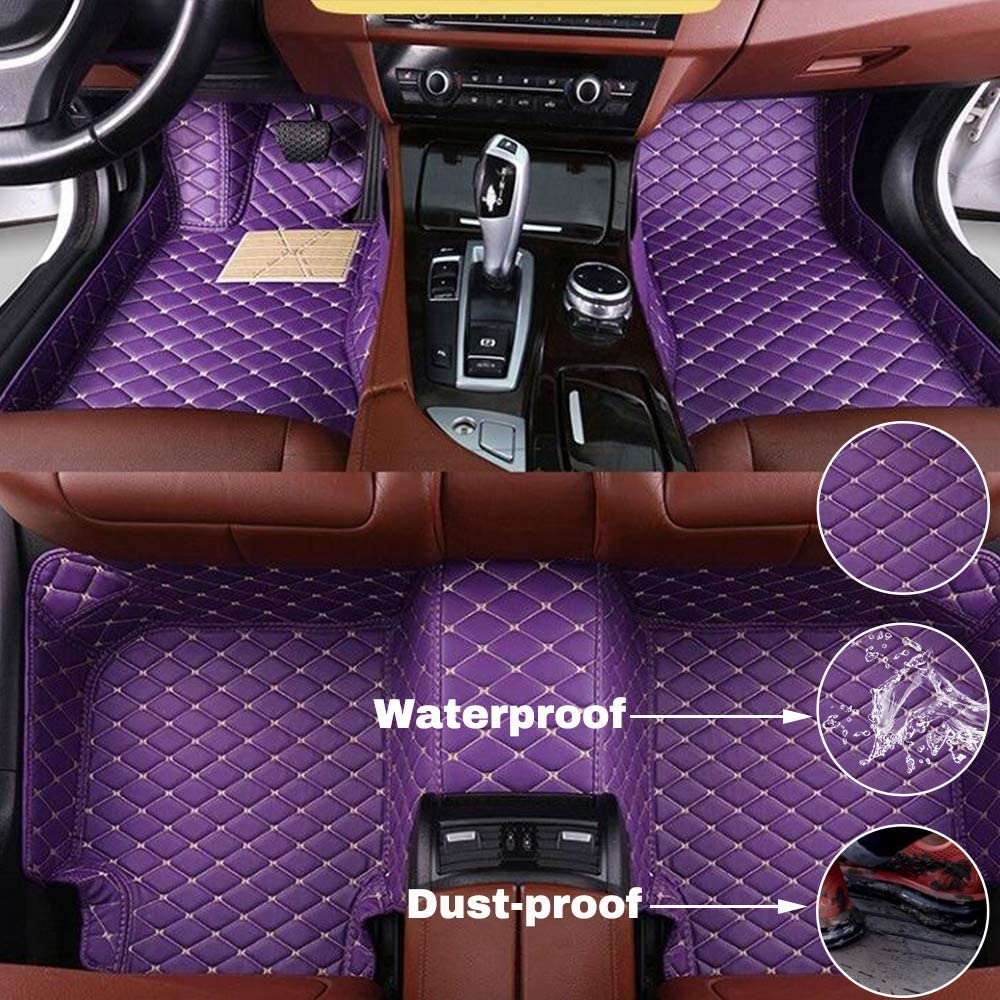 Maidao Custom Car Floor Mats for Honda Odyssey EX 2008 Can Be Customized for 99% of Car Models Can Be Customized Pattern Or Logo Waterproof Non-Slip Leather Liner Set Purple