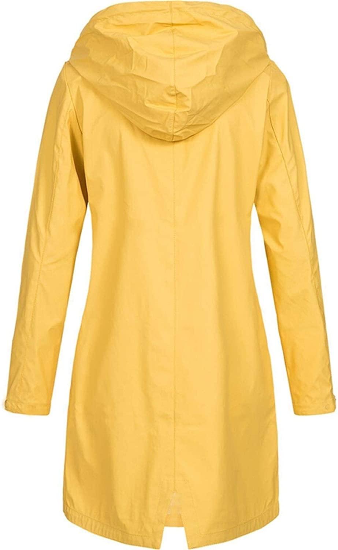 AYUYU Women's Hiking Clothing Waterproof Women Windbreaker Solid Color Windbreaker Hooded Women Mountain Coat (Color : Yellow, Tamaño : 4XL)