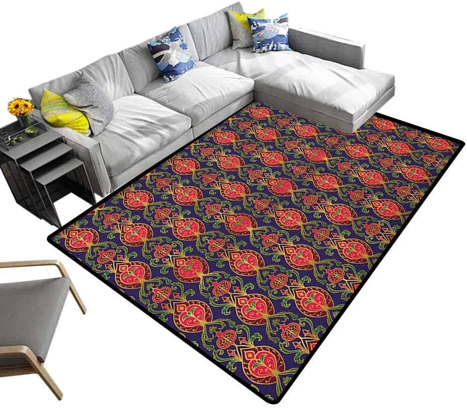 Colorful Area Rug Turkish Pattern, Luxury Shag Carpets Oriental Botanical Pattern with Pomegranates and Leaves on Indigo Backdrop Non Slip Absorbent Super Cozy Multicolor, 5 x 8 Feet