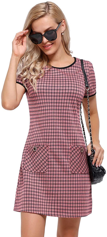 Arach&Cloz Women's Houndstooth Short Sleeve Shift Tunic Dress Casual Work Mini Tweed Dress with Pockets