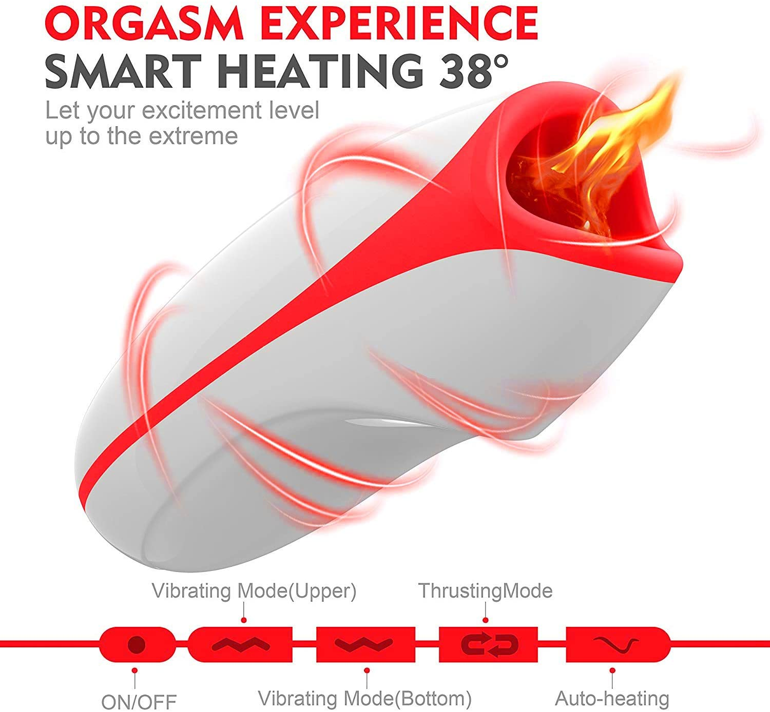 Man Cup Smart Heating Electric Blow-Job Deep Throat Sucking Vibrating Male Masturbator Toy Oral Cup Male Mǎsturbation Cup Hands Free Strǒker for Men Suction Toy Underwear for Men Bedroom Pleasure Toy