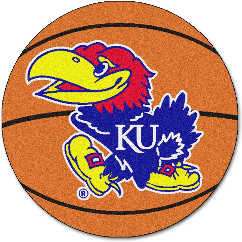 Fanmats Kansas Jayhawks Basketball-Shaped Mat