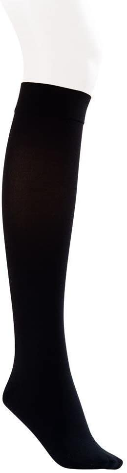 JOBST Opaque Knee High with SoftFit Technology Band, 20-30 mmHg Compression Stockings, Closed Toe, Medium, Classic Black