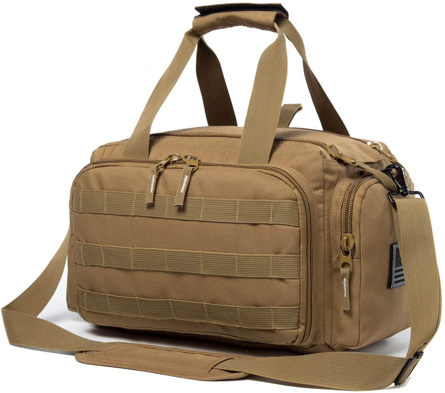 APESNOIC Range Bag Water-Resistant Tactical Gun Range Bag for Handguns Shooting Range Duffle Bags with USA Flag Patch Included.