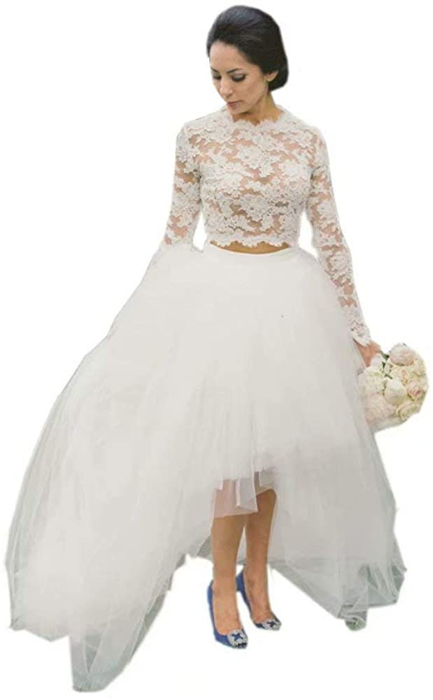 Country Tulle Illusion Long Sleeves Wedding Dresses 2 Pieces for Bride 2020