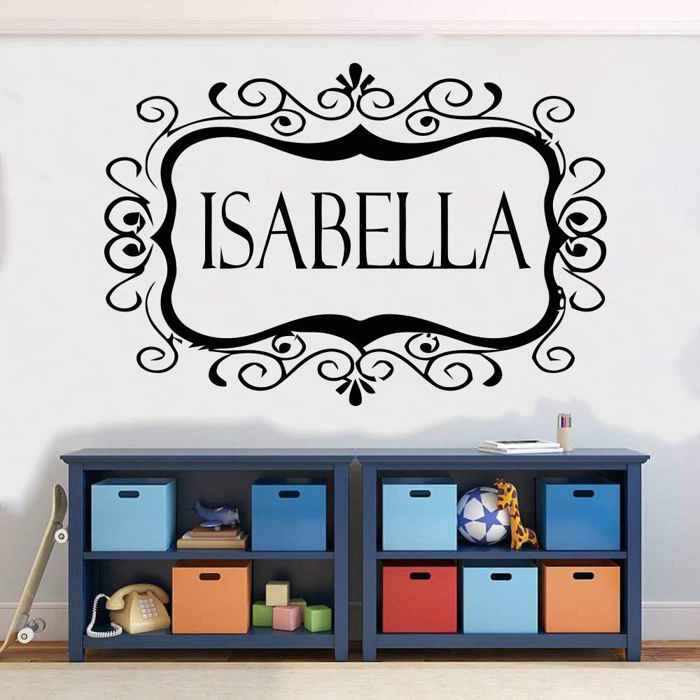 Isabella Girl Name Kids Room Nursery Wall Sticker Movies 小artoon Floral Vinyl Decal Mural Art Decor sr110
