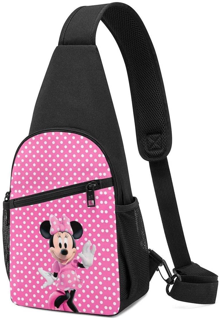 Pooizsdzzz Sling Bag - Pink Dot Minnie Crossbody Sling Backpack Travel Hiking Chest Bag Daypack for Women Men