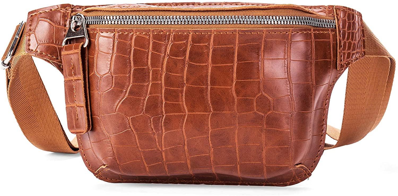 Women's Crocodile Pattern Fanny Packs Stylish Leather Waist belt Bag Mini Chest Bag Brown