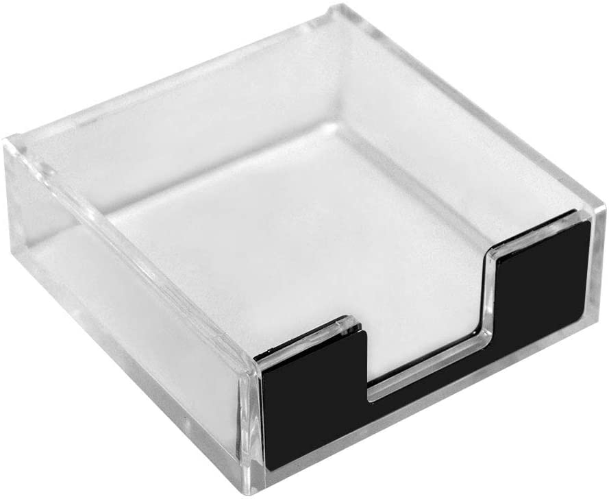 Acrylic Clear Sticky Notes Pad Holder Clear Black Memo Holder Desk Organizer for Office Home Desk Supplies(Black)