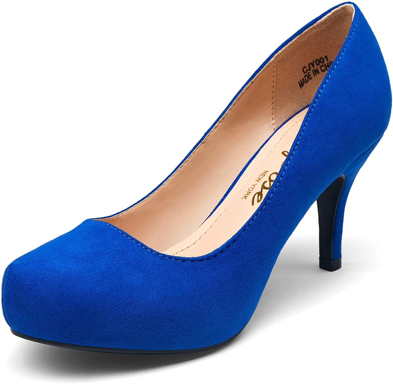 VEPOSE Women's Low Heel Pumps Front Inner Waterproofing Platform Almond Toe Mid Heel Classic Dress Shoes for Women