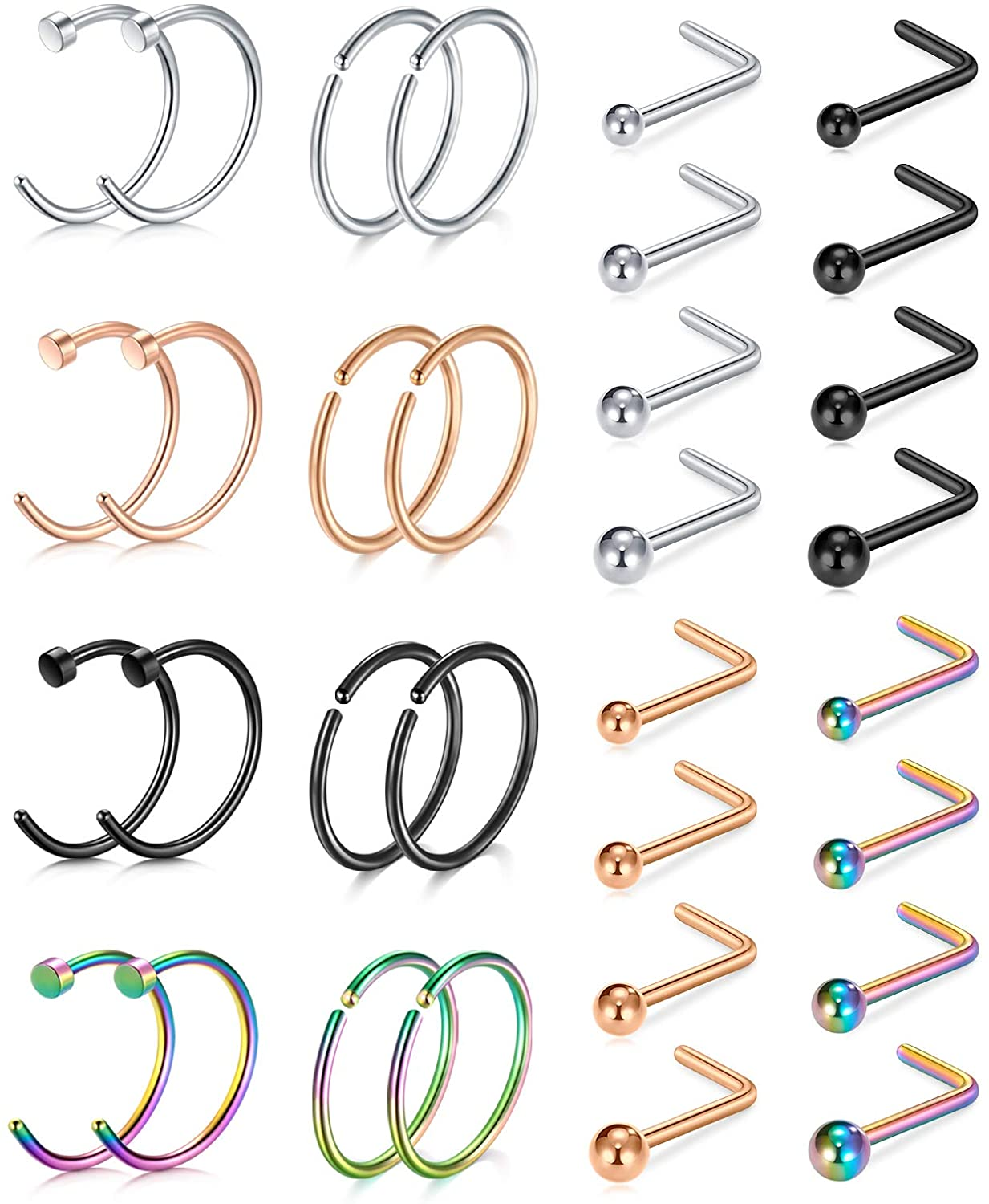 AVYRING 18g Nose Rings Nose Studs Surgical Steel L Shape Screw Nostril Ring Piercing Piercing Jewelry Set for Women Men