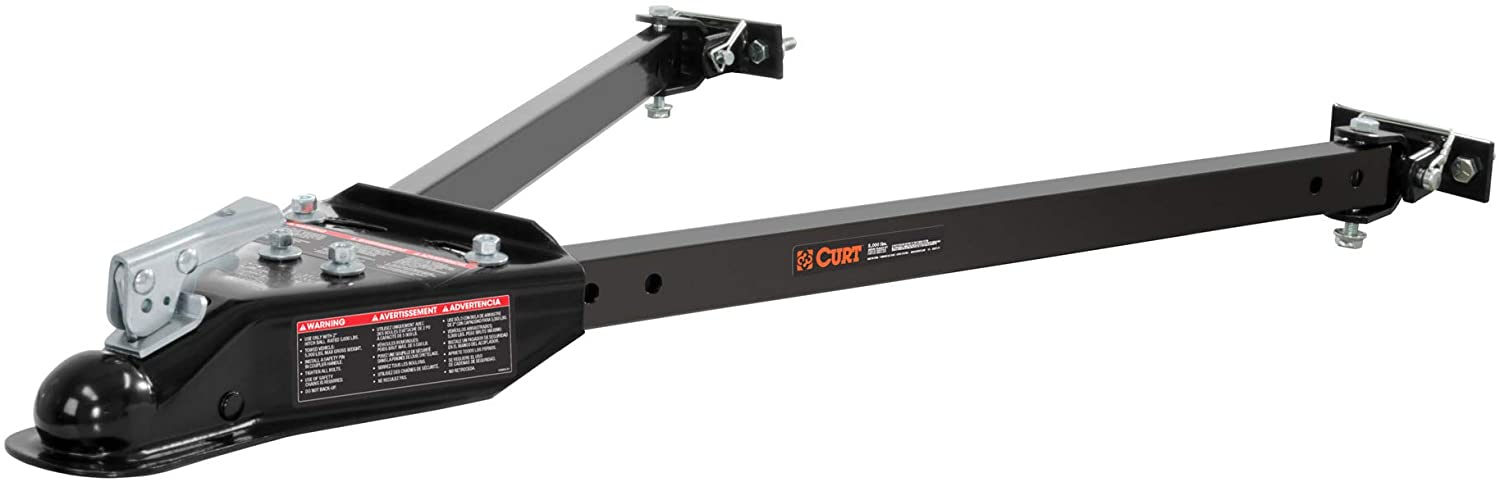 CURT 19745 Adjustable Car RV Tow Bars for Flat or Dinghy Towing, 5,000 lbs, 2-Inch Coupler