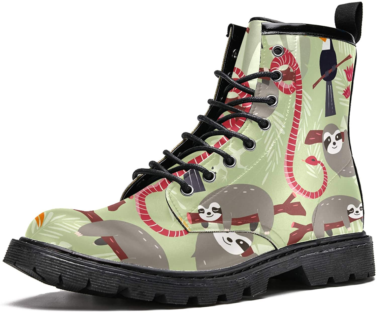 LORVIES Sloth Snake Toucan Bird Men's High Top Boots Lace Up Casual Leather Ankle Shoes
