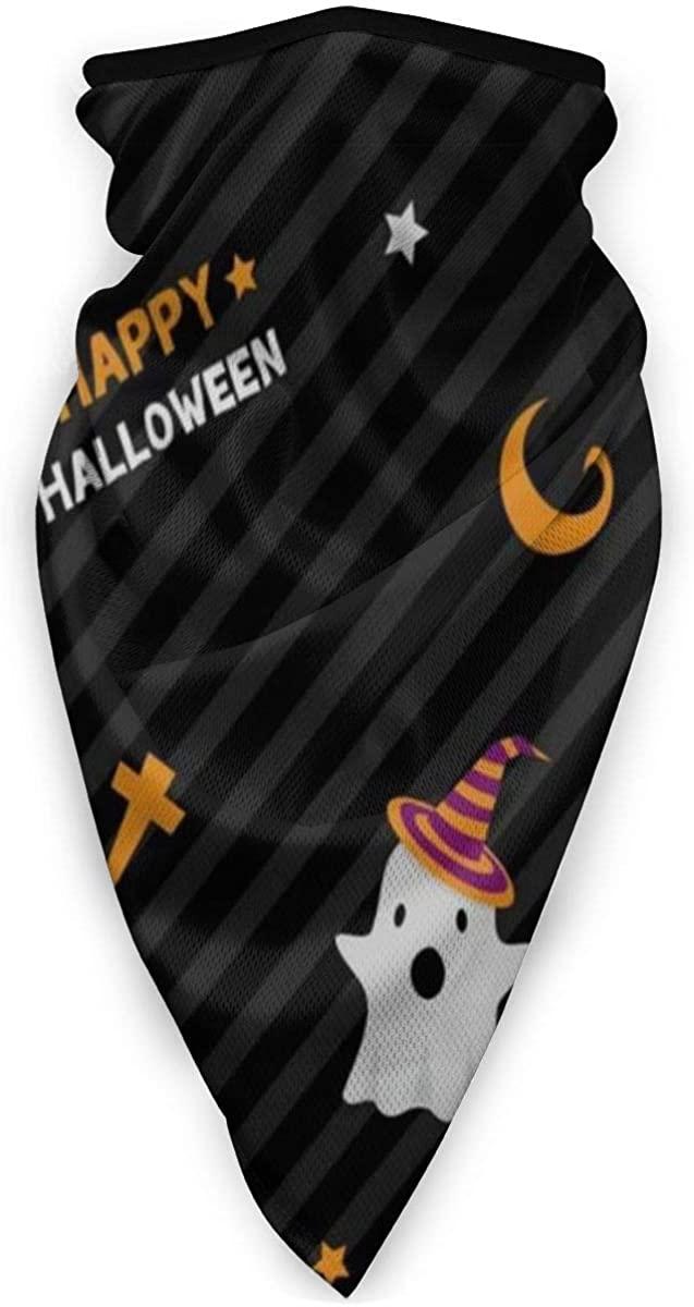 Vintage Happy Halloween Geometric Stripe Pumpkin Stars Half Face Mask Balaclava Women Men Ski Mask Bandana for Snowboarding