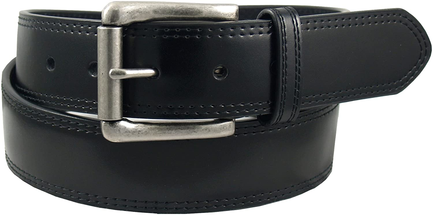 Dickies Men's 100% Leather Jeans Belt with Stitch Design and Prong Buckle, Black, 36