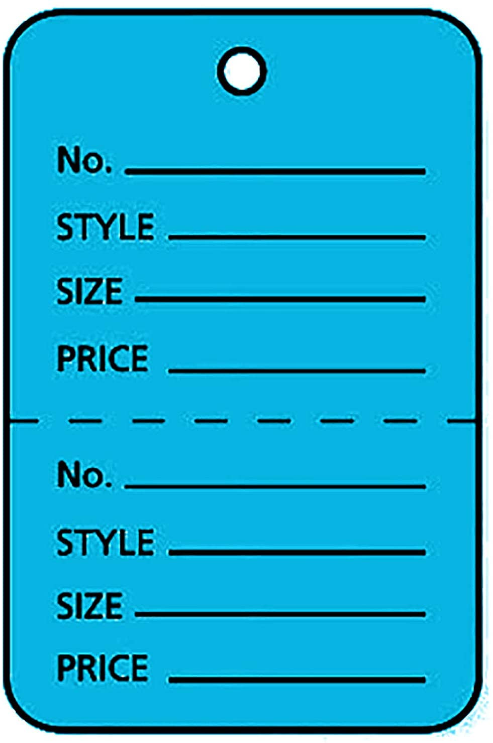 """Large Unstrung Blue Perforated Coupon Price Tags (1¾"""" W x 2⅞""""H) - Box of 1,000"""
