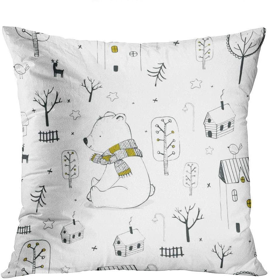 Pooizsdzzz Throw Pillow Decor Square20 x 20 Inch Cute Deer Winter Polar Bear Super Soft Decorative Cushion Cover Printed Pillowcase Cover Home Sofa Living Room