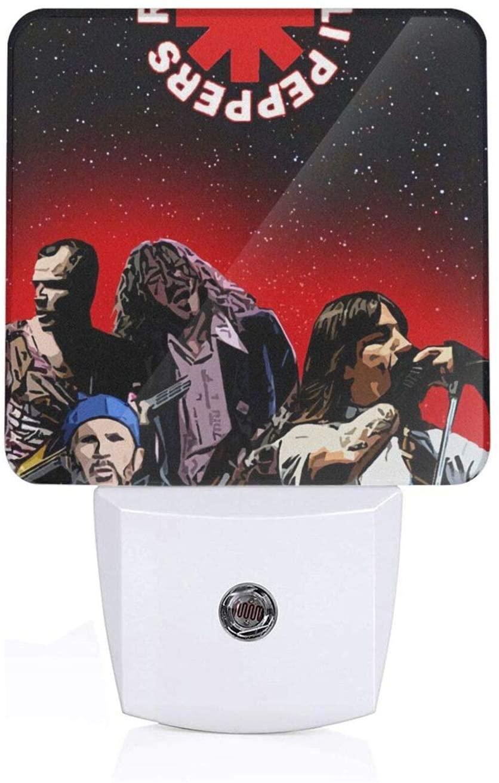 R-E-D Hot Chili Peppers Plug-in Led Night Light with Light Sensor,Warm White, Dusk to Dawn Sensor Flat Nightlight for Bathroom, Hallway, Bedroom, Living Room
