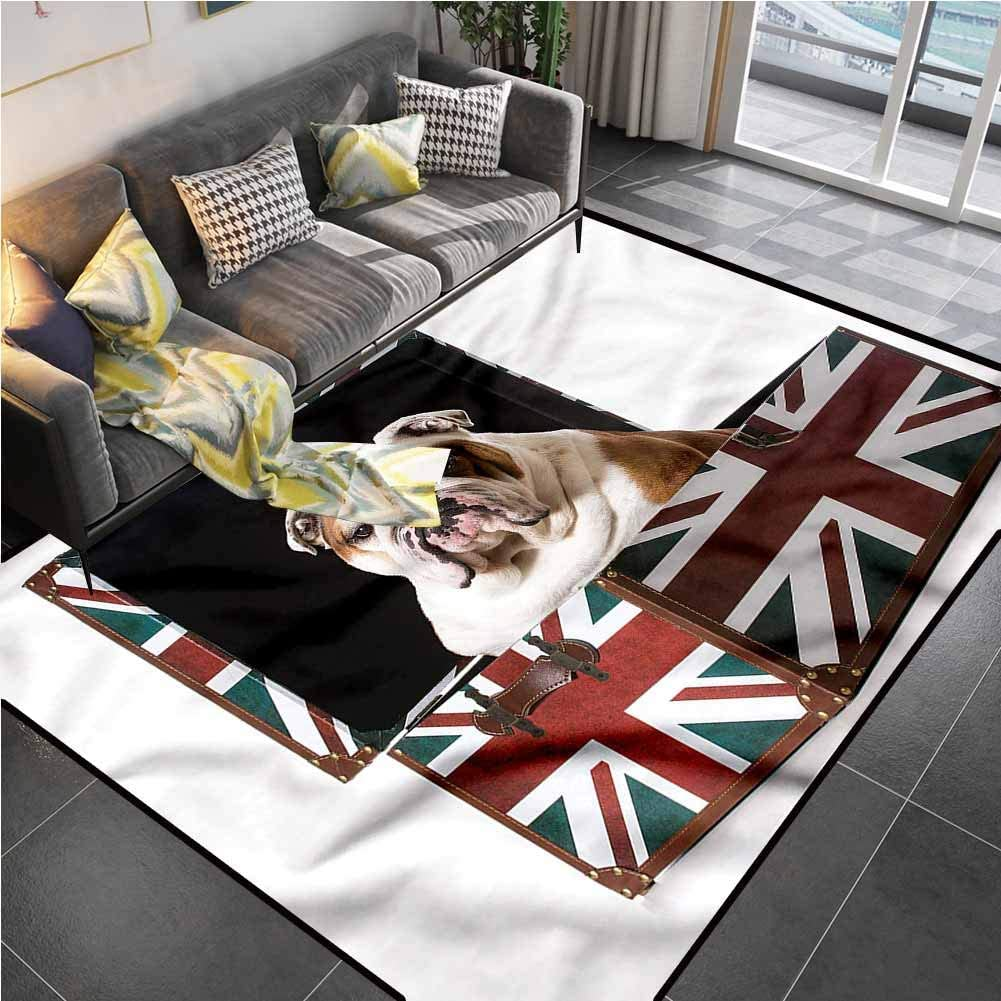 Area Rug Print Large Rug Mat English Bulldog,Patriotic Dog Bedroom Carpet for Living Playing Dorm Room Bedroom 5'x7'