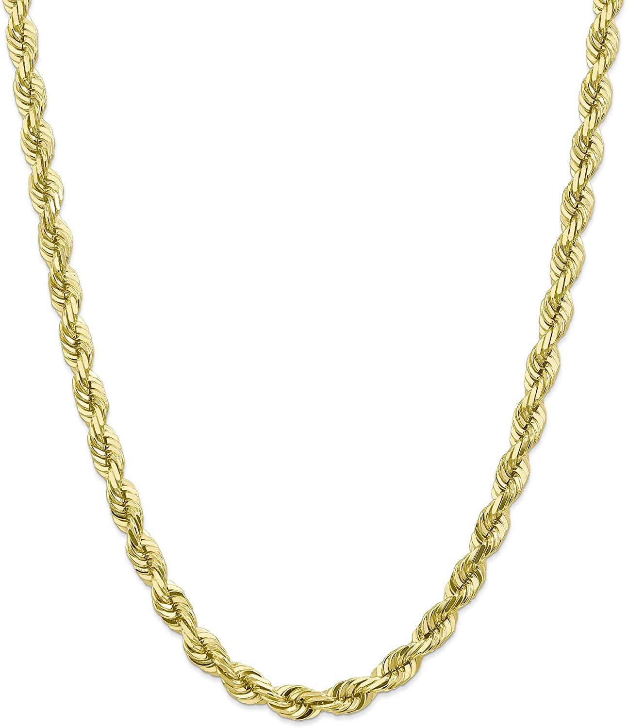 10k Yellow Gold 7mm Diamond-Cut Rope Chain Necklace with Secure Lobster Clasp 22inch for Men Women