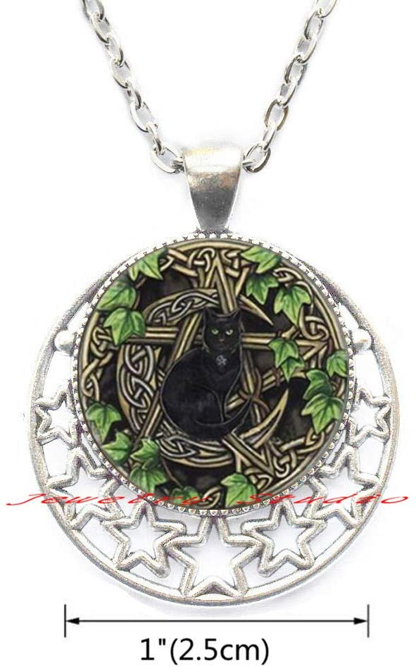 New Wicca Cat Pendant Black Cat Necklace Glass Dome Photo Jewelry Gifts Women Round Necklace-HZ0155
