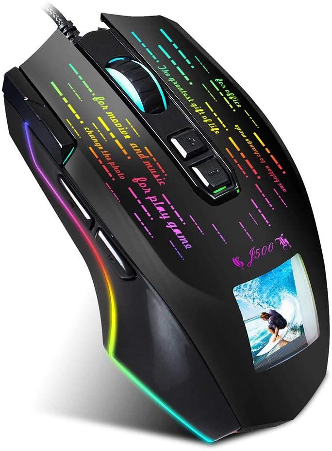 BIU Wired Gaming Mouse, Innovative Display Luminous Mechanical Mouse, 7-Key 10000 DPI Adjustable, Ergonomic Optical Mouse