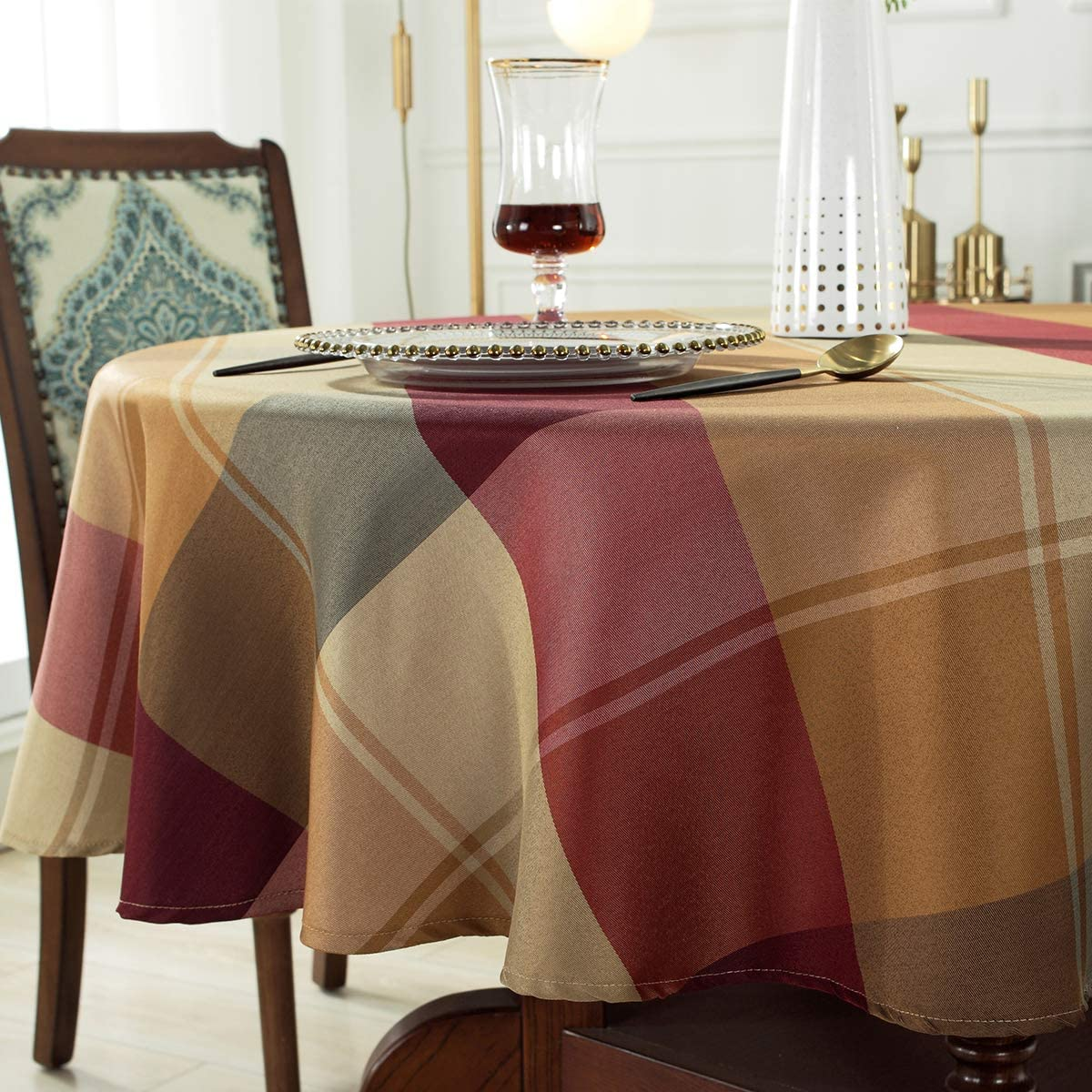 Round Tablecloth Checkered Style Polyester Table Cloth Spillproof Dust-Proof Wrinkle Resistant Heavy Weight Table Cover for Kitchen Dinning Tabletop (Square/Round, 52