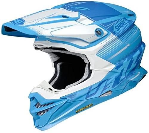 Orange Cycle Parts Full Face Dirt Bike Off-Road MX Motocross Helmet by Shoei VFX-EVO (X-Large, Zinger TC-2, Blue White)
