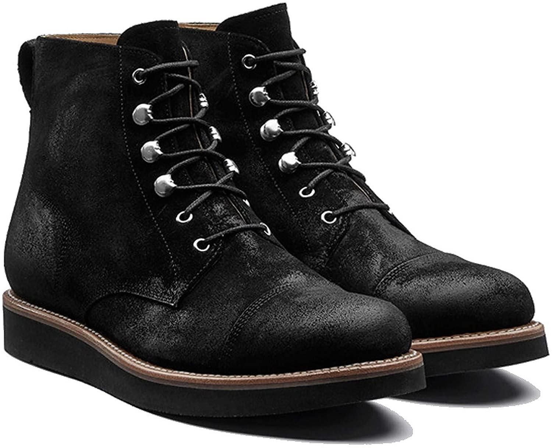 Grenson Men's Black Suede Newton Flat Lace-Up Boots, Size 11 US / 10 UK