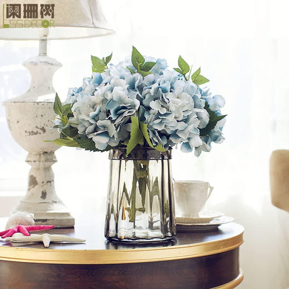 AMYDREAM Hydrangea artificial flower,California hydrangea table vase floral set european style silk fake simulation flower-C 35x35cm(14x14inch)