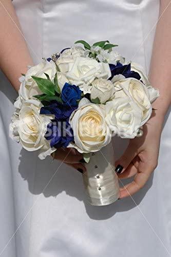 Gorgeous Ivory & Blue Mixed Rose & Hydrangea Wedding Bouquet