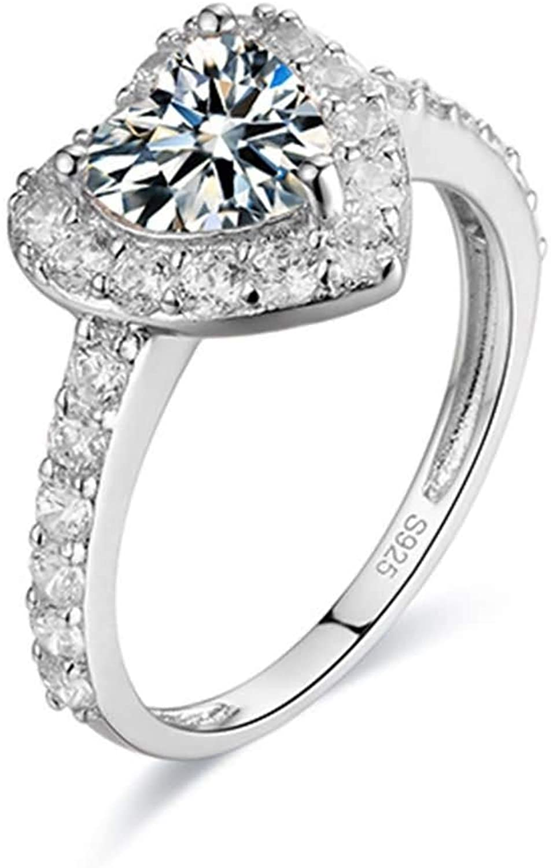 Aokarry Women's White Gold Wedding Engagement Ring D Grade VVS Heart Moissanite