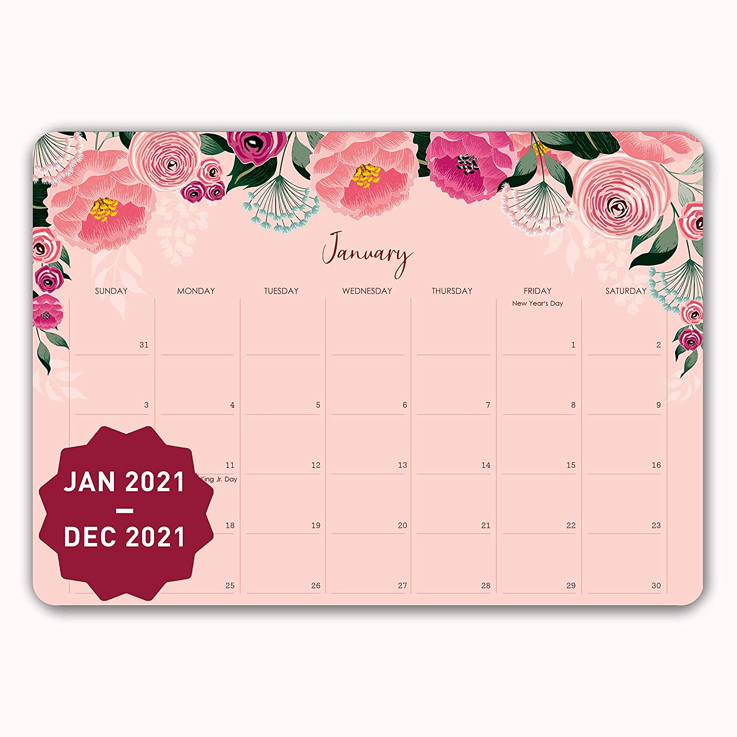 MUDRIT 2021 Desk/Wall Yearly Calendar, Large Pages 12 X 17 Monthly Daily Planner (Jan 2021 - Dec 2021), Big Blotter Desktop/Hanging Pad - Office, Home, Family,Business, School Appointment Planning