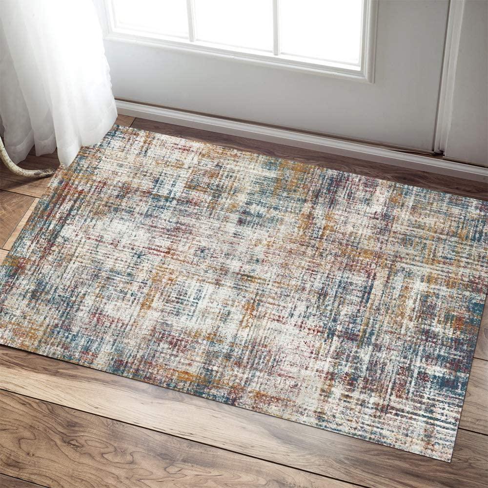 jinchan Door Mat Area Rug for Living Room Kitchen Modern Abstract Colorful Doormat Floorcover Indoor Low Pile Mat Red 2'x 3'3