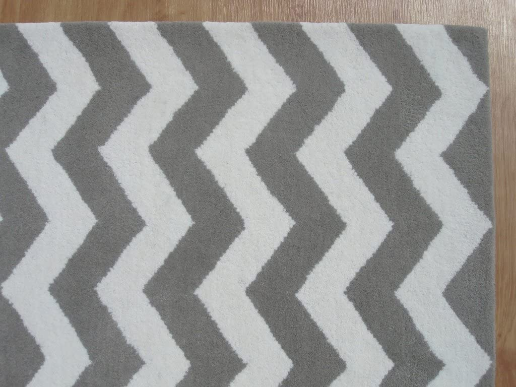 Unifine Style Art Modern Chevron Zig Zag Handmade Wool Area Rug Carpet - Grey, 10' x 14'