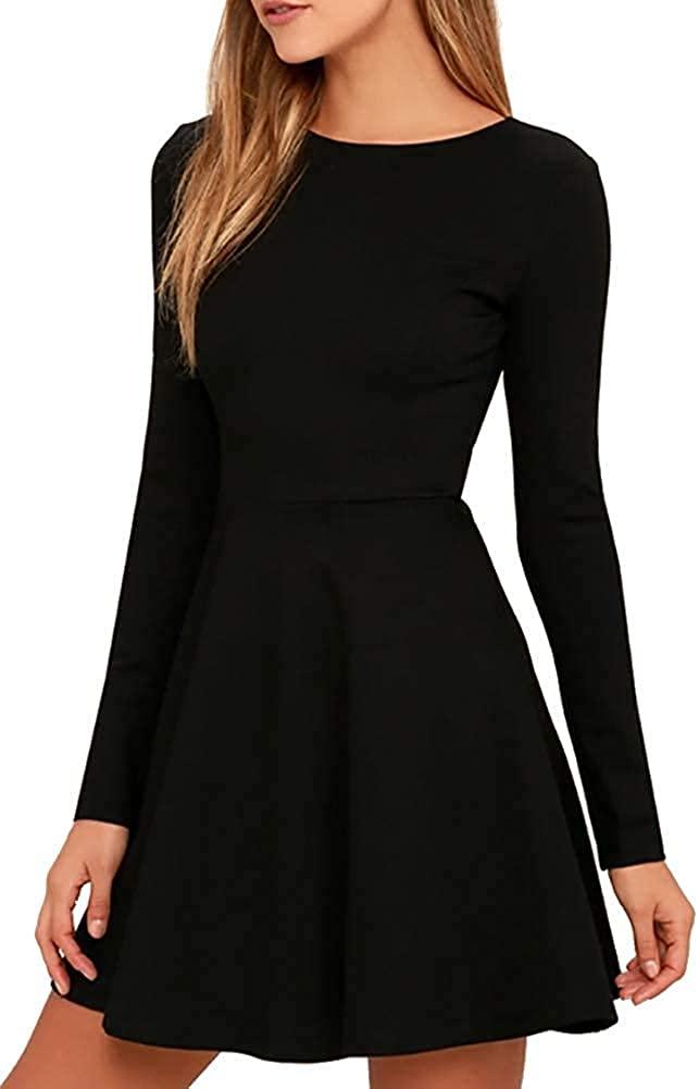 Jusfitsu Womens Long Sleeve Dress Casual Simple Dresses A-Line Midi Length Skirt Slim Fit Skater Dress