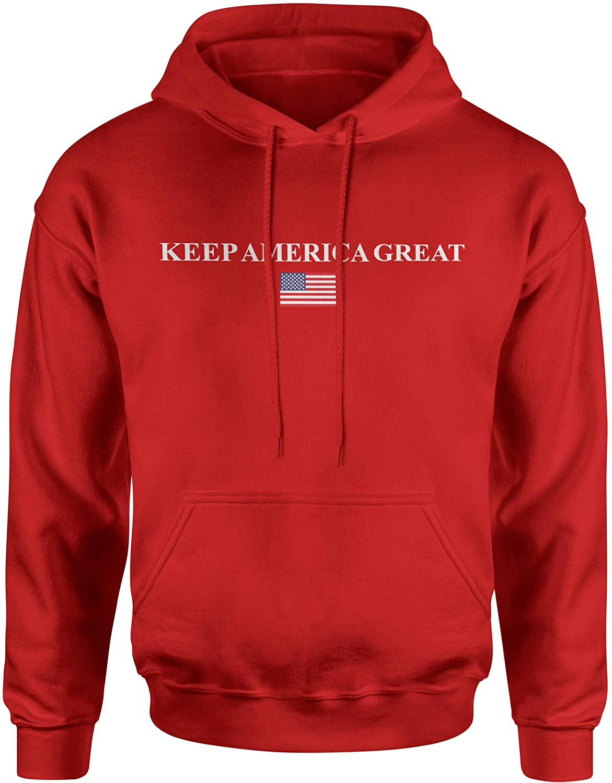 Quantitees Great Americans Keep America Great (KAG) USA Flag Subtle Design Classic Hooded Sweatshirt