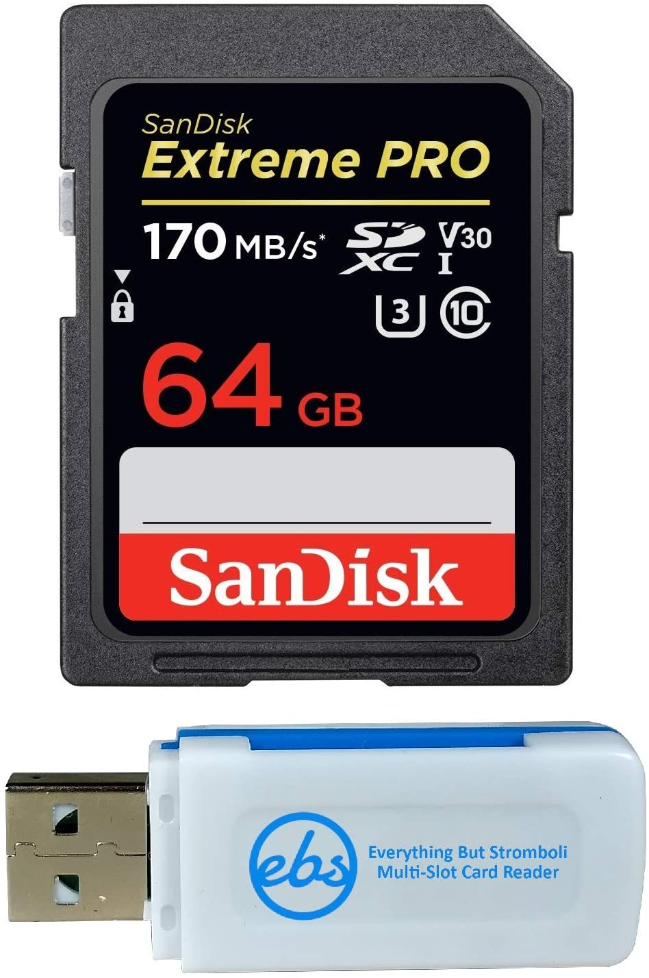 SanDisk Extreme Pro 64GB SD Card for Camera Works with Nikon Z7 II (Z 7II), Z6 II (Z 6II) - SDXC UHS-I Card (SDSDXXY-064G-GN4IN) Bundle with (1) Everything But Stromboli Micro & SD Memory Card Reader