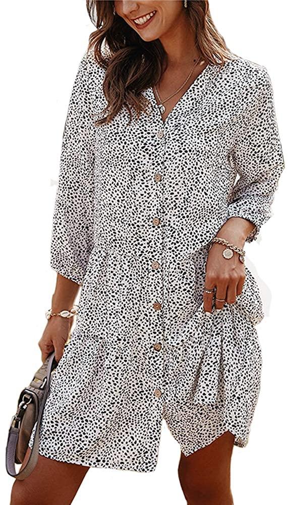 OOTaoper Women V Neck Three Quarter Sleeve Casual Dress Button Down Floral Polka Dots Print Mini Boho Loose Flowy Dresses
