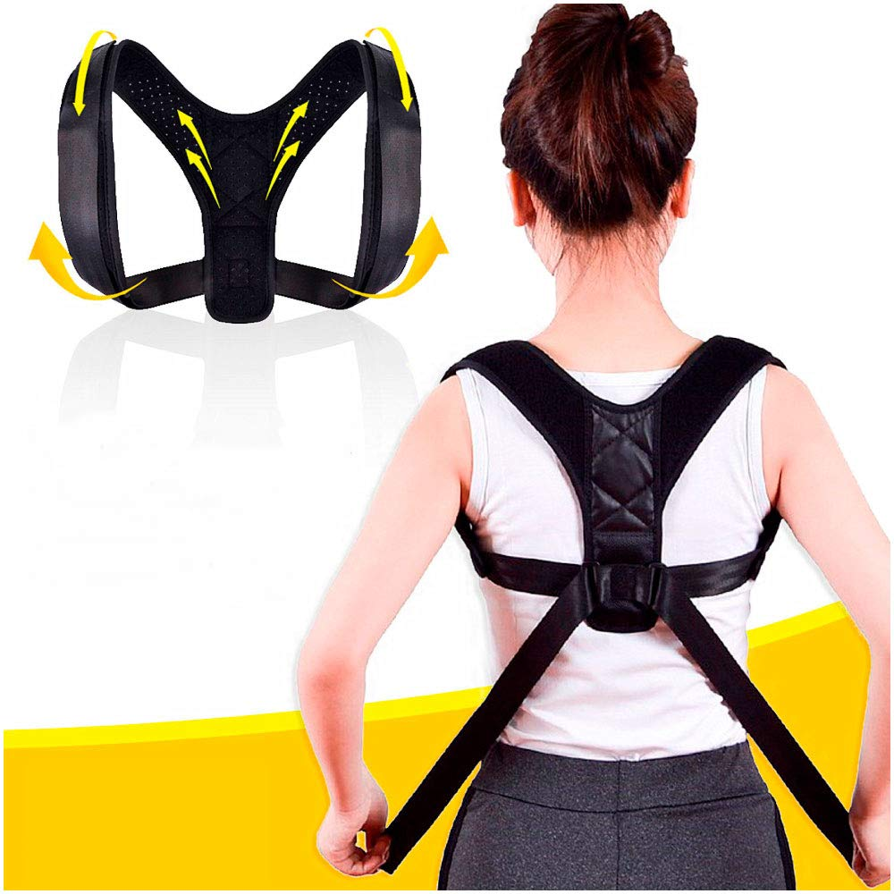 7Play Sports Posture Corrector for Men and Women - Upper Back Straightener Brace, Clavicle Support Adjustable Device for Thoracic Kyphosis and Providing Shoulder