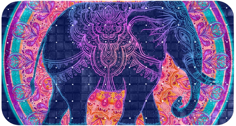 DEYYA Bathtub Mats Non Slip Bathroom Shower Mat Foot Mat with Suction Cups 100% Non-Toxic Tribal Elephant Mandala Colorful
