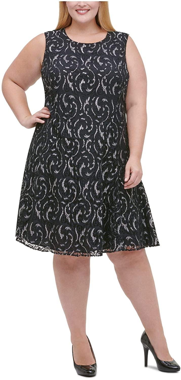Tommy Hilfiger Womens Black Lace Metallic Sleeveless Jewel Neck Below The Knee Fit + Flare Wear to Work Dress Size 14W