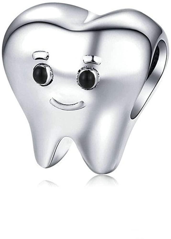 LAMOONY Smile Tooth Charm 925 Sterling Silver Health Charm Anniversary Charm Love Charm Birthday Charm for Pandora Charm Bracelet