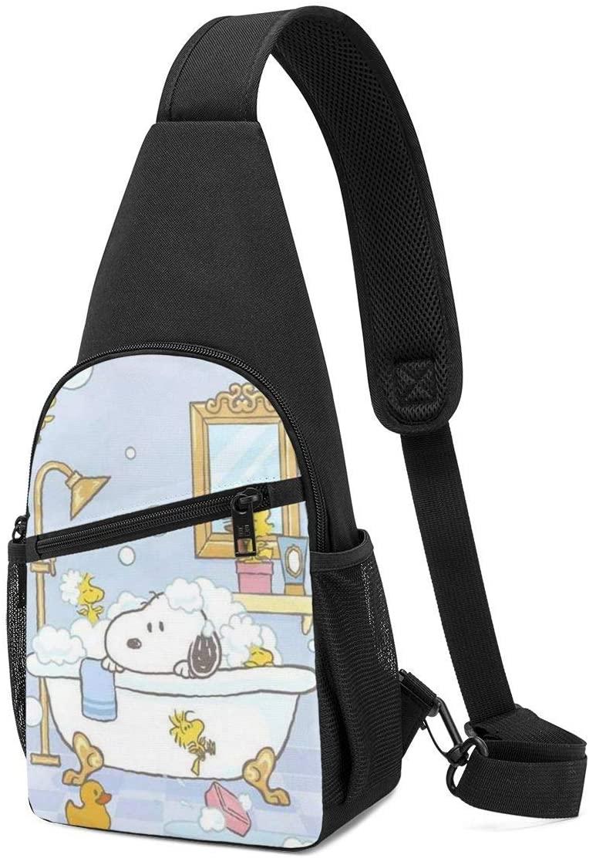 Pooizsdzzz Sling Bag - Snoopy in The Shower Crossbody Sling Backpack Travel Hiking Chest Bag Daypack for Women Men
