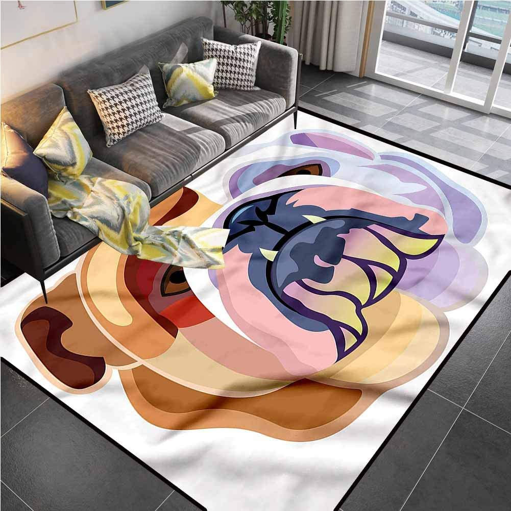 Area Rugs Print Large Carpet English Bulldog,Abstract Dog Desk Floor mat for Carpet for Living Dining Dorm Playing Room Bedroom 5'x7'