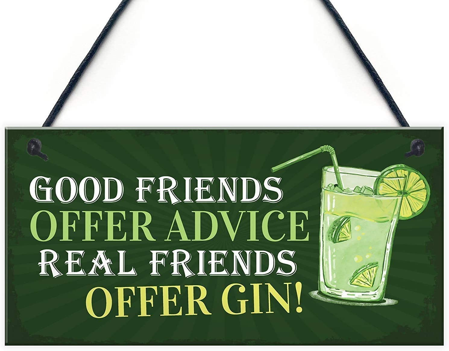 INNAPER Wooden Sign with Quotes Good Friends Offer Advice Real Friends Offer Gin Garden Plaque Shed Home Bar Pub Alcohol Kitchen Hanging Wall Plaque Gift 12x6(49BW2013)