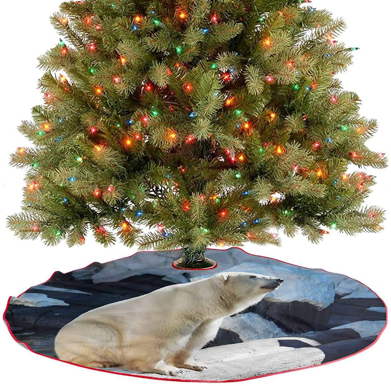 Rustic Xmas Tree Skirt Polar Bear in Park Rocks Christmas Decorations for Xmas Party Supplies Large Halloween Diameter - 48 Inch