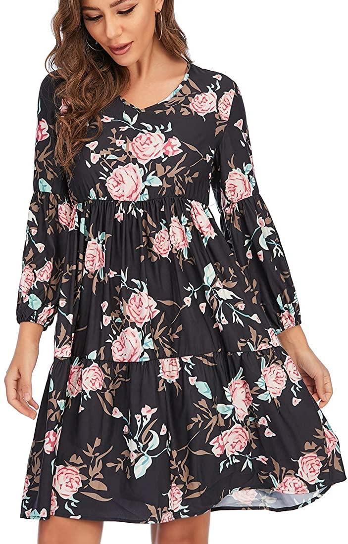 Women's Casual Dress V-Neck Loose Elegant Floral Cocktail Dress